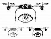 Spy Drone Mosaic Of Inequal Parts In Variable Sizes And Color Tones, Based On Spy Drone Icon. Vector poster