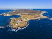 Aerial View Of Eastern Point Lighthouse And Gloucester Harbor, Cape Ann, Northeastern Massachusetts, poster