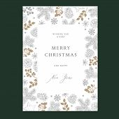 Merry Christmas, Happy New Year Floral Greeting Card, Winter Nvitation. Holiday Frame With Fir Tree  poster