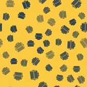 Blue Line Pet Carry Case Icon Isolated Seamless Pattern On Yellow Background. Carrier For Animals, D poster