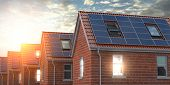Row of house with solar panels on roof  on blue sky background. 3d illustration poster