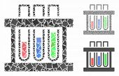 Analysis Test-tubes Mosaic Of Ragged Items In Various Sizes And Color Tints, Based On Analysis Test- poster