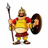 pic of spears  - fat goliath cartoon was laughing fun while holding a spear and a shield with a visible navel - JPG
