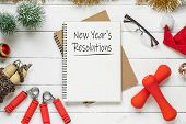 New Year Resolutions Or Goals For Healthy Lifestyle, Lose Weight And Join Gym. New Years Resolution poster
