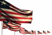Wonderful Many Liberia Flags Placed Diagonal Isolated On White With Place For Text - Any Occasion Fl poster