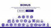 Bonus Loyalty Landing Web Page Header Banner Template Vector. Dollar Mark On Rocket, Coins And Credi poster