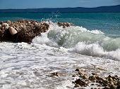 Coast with view on island Hvar in Croatia