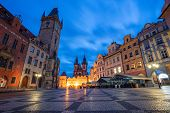 Prague Czech Republic. Cityscape Image Of Famous Old Town Square With The Prague Astronomical Clock  poster