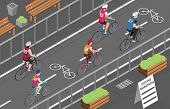 Cyclists Participating In City Bicycle Marathon 3d Isometric Vector Illustration poster