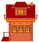 Brick Building, Accommodation For Family. Facade Exterior, Vector Windows And Roof, Chimney And Stai poster