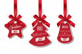 Christmas Sale Tags Set. Big Winter Holidays Discounts. Fir Tree, Bell, Star Shapes Labels Hanging O poster