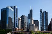 stock photo of willy  - Skyline of Chicago from the river with Willis tower in distance - JPG