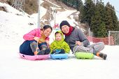 Happy Family Having Fun Outdoors, Asian Mother Father And Cute Little 3 Years Old Toddler Boy Son Pl poster