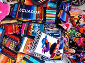 Souvenirs From Ecuador: Textile Purses With Traditional Design And Textile Dolls Typical For Azuay P poster