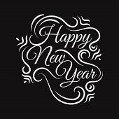 New Flat Styles Hand Drawn Happy New Year 2020 Lettering Vector Illustration Background Concept Imag poster