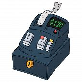 Cash Register Icon. Vector Illustration Of A Cash Register With Check And Bill. Hand Drawn Cash Regi poster