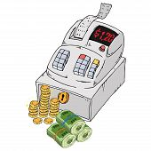 Cash Register Icon. Vector Of A Cash Register With Check And Bill. Hand Drawn Cash Register For A St poster