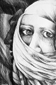 picture of burka  - Photo of a drawing representing a face of a arab woman wearing a burka - JPG