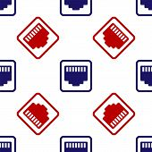 Blue And Red Network Port - Cable Socket Icon Isolated Seamless Pattern On White Background. Lan, Et poster