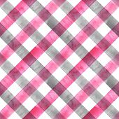 Watercolor Diagonal Stripe Plaid Seamless Texture. Colorful Gray And Pink Stripes Background. Waterc poster