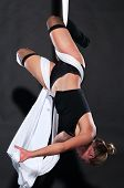 foto of aerialist  - Athletic blonde aerialist suspended from white fabric - JPG