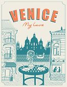 Vector Banner Or Menu For Venice Street Cafe Overlooking The Canal And Gondola, Old Buildings And Ta poster