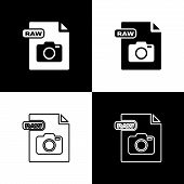 Set Raw File Document. Download Raw Button Icon Isolated On Black And White Background. Raw File Sym poster