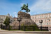 image of hetman  - Historic monument to Hetman Bogdan Khmelnitsky on Sofia square in Kiev Ukraine - JPG