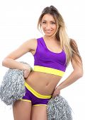 Cheerleader Girl Dancer With Silver Cheerleading Pom Poms