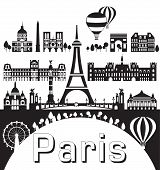 Vector Set Of  Landmarks Of Paris. Poster Of Paris City Skyline, Vector Illustration In Black And Wh poster