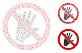 Mesh Do Not Touch Model With Triangle Mosaic Icon. Wire Carcass Polygonal Mesh Of Do Not Touch. Vect poster