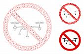 Mesh No Airdrone Model With Triangle Mosaic Icon. Wire Frame Triangular Mesh Of No Airdrone. Vector  poster