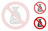 Mesh No Funds Model With Triangle Mosaic Icon. Wire Carcass Triangular Mesh Of No Funds. Vector Mosa poster