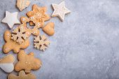 Christmas Flat Lay Background With Traditional Gingerbread Cookies. Festive Flat Lay X-mas Or New Ye poster