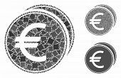 Euro Coins Mosaic Of Inequal Elements In Various Sizes And Color Tinges, Based On Euro Coins Icon. V poster