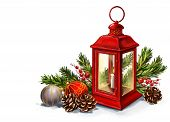 Red Vintage Lantern With A Burning Candle With Christmas Toys, Decorative Christmas Ornament, Art Il poster
