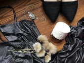 Party Style Flat Lay. Female Fashion Flat Lay. Silver Drass, Black Shoes, Perfume, Necklace, Flowers poster