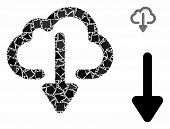Cloud Download Mosaic Of Rough Items In Variable Sizes And Shades, Based On Cloud Download Icon. Vec poster
