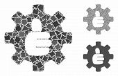 Gear Thumb Ok Mosaic Of Abrupt Pieces In Various Sizes And Color Tinges, Based On Gear Thumb Ok Icon poster