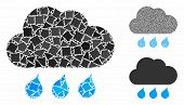 Rain Weather Mosaic Of Tremulant Items In Variable Sizes And Shades, Based On Rain Weather Icon. Vec poster