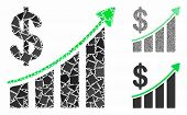 Sales Trend Mosaic Of Unequal Parts In Variable Sizes And Color Tints, Based On Sales Trend Icon. Ve poster