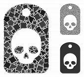 Skull Label Composition Of Bumpy Parts In Different Sizes And Color Tints, Based On Skull Label Icon poster
