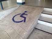 Steep Slopes For The Disabled. Way Up For Wheelchair. poster