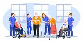 Nurse Taking Care About Seniors People In Hospital. Vector Flat Cartoon Illustration. Doctors Help E poster