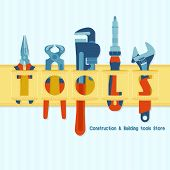 Template For Construction And Building Tools Store Banner. Tools For House Repair And Constructing I poster
