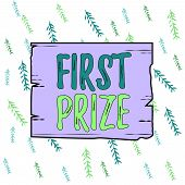 Handwriting Text First Prize. Concept Meaning The Most Desirable Or Grand Prize Offered For The Over poster