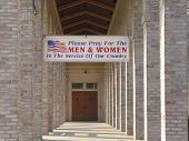 Entrance To Padre Pio Foundation With Patriotic Banner, Barto, Pa
