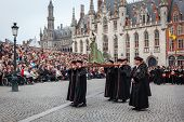 BRUGES, BELGIUM - MAY 17: Annual Procession of the Holy Blood on Ascension Day. Locals carry statue