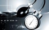 image of bp  - Digital illustration of sphygmomanometer in colour background - JPG