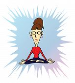 stock photo of kundalini  - Funny yoga woman in meditative yoga pose - JPG